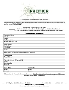 New Owner Contact Info Form
